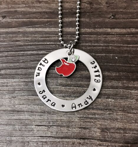 personalised hand stamped 38mm Washer Teachers Or Student Gift On 60cm Chain