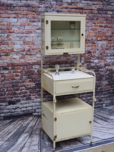 Vintage White Metal Surgical Medical/Dental Apothecary Cabinet With Glass Door