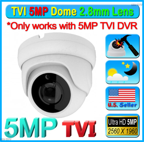 5MP TVI Sony Chipset HD 2.8mm CCTV Wide Angle Weatherproof Outdoor Camera Dome