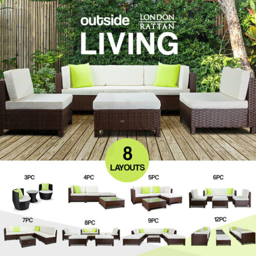 LONDON RATTAN Outdoor Furniture Setting 3/4/5/6/7/8/9/12 Wicker Lounge Sofa Set <br/> 20% OFF. Must use Checkout Code PAPA20. Ends 30/8. TCs.