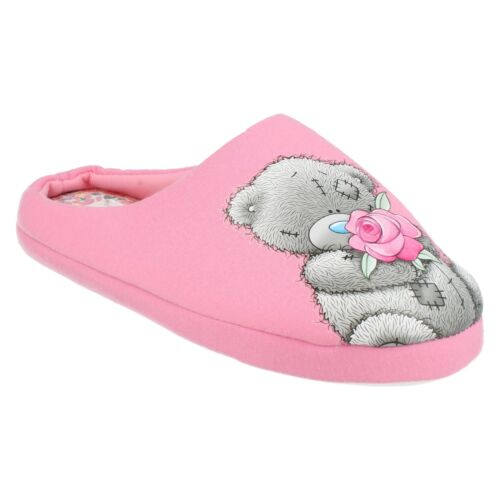 LADIES WOMENS PINK TATTY TEDDY SLIP ON COSY INDOOR WINTER WARM MULE SLIPPERS