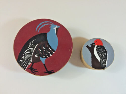 "Pair Of Round Shaker Style 7"" & 4""  Wooden Boxes With Painted Birds Vintage 1983"