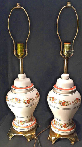 Pair of Orange Floral Ginger Jar Table Lamps With Brass Finish Bases