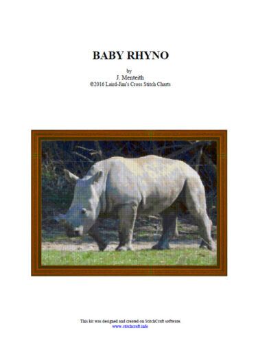 BABY RHYNO- cross stitch chart - PDF file