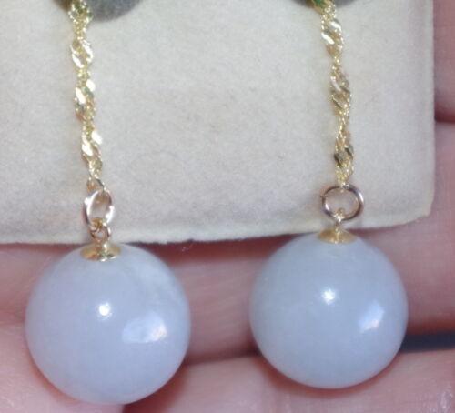 VINTAGE GENUINE 14K JADE LAVENDER ELONGATED 12MM ROUND BALL EARRINGS JACKETS HH