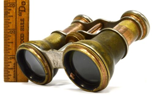 Antique VICTORIAN BRASS BINOCULARS Unbranded OPERA GLASSES French? WORK GREAT!!