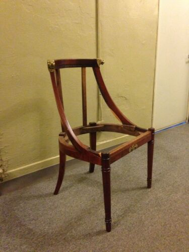 Turn of Century Neo French Empire Style Mahogany Side Chair w/Brass Lions As Is