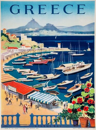 Greece Greek Isle Isles Island Athen's Bay  Europe Travel Advertisement Poster