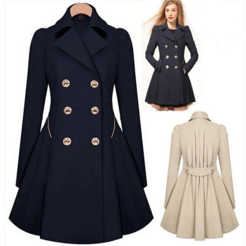 Winter Women Warm Polyester Parka Overcoat Trench Coat Lady Long Jacket Outwear