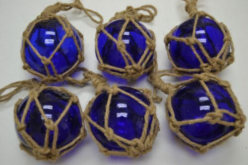 "6 PCS REPRODUCTION COBALT BLUE GLASS FLOAT BALL BUOY WITH FISHING NET 4"" #F-502"