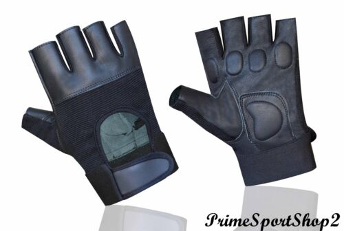 Leather Fingerless Mens Weight Lifting Training Gloves Black Cycling Wheelchair*