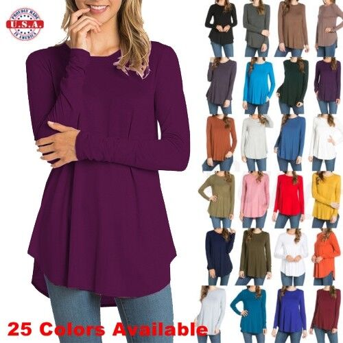 USA Womens Round Neck Long Sleeve Rounded Hem Layering Tunic Top Casual Solid