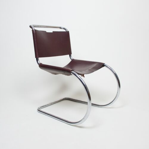 Early Leather Knoll International Mies Van Der Rohe MR10 Chair Mid Century