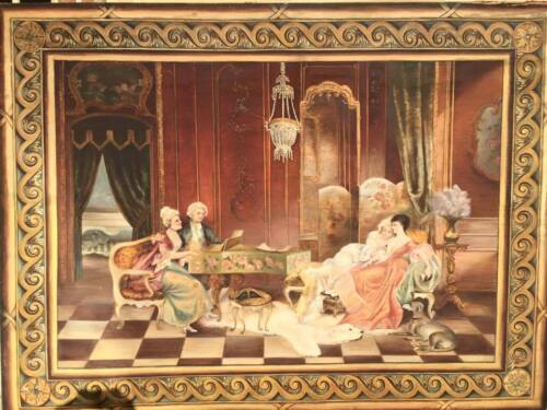 Antique Tapestry, Monumental Hand Painted French on Large Wooden Frame, Gorgeous