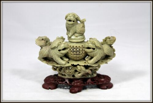"""Exquisitely Hand Carved Chinese Soapstone Censor of Frolicking Foo Dogs"" (8"" H)"