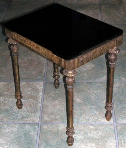 Antique Iron Black Glass Bach Style Renaissance Revival Side Table Occasional