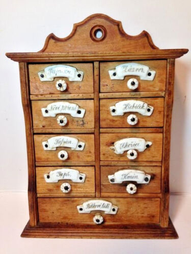 Old Primitive Wall Hanging Wood 9 Drawer Spice Box Cabinet w Porcelain Knobs