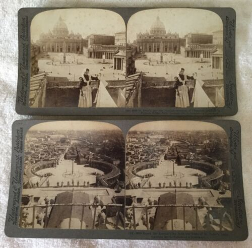 Antique 1905 Stereoviews Photo Rome Italy Vatican St Peters Church Eternal City