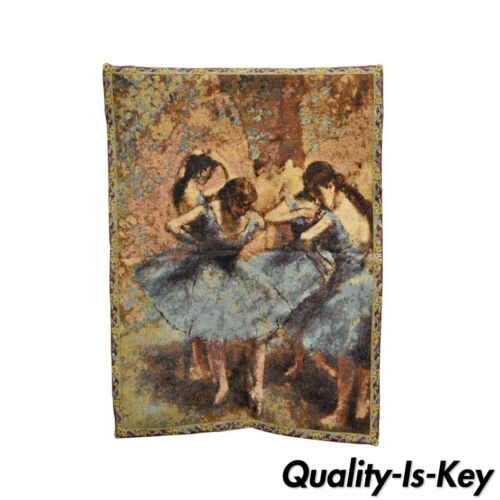 """35""""x25"""" French Wall Hanging Tapestry Jacquard Ballet Dancers in Blue Edgar Degas"""
