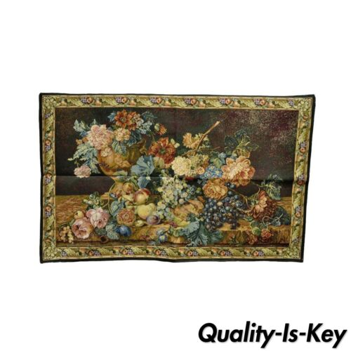 """41""""x26"""" French Wall Hanging Tapestry Jacquard Aubusson Acanthus Fruit Still Life"""
