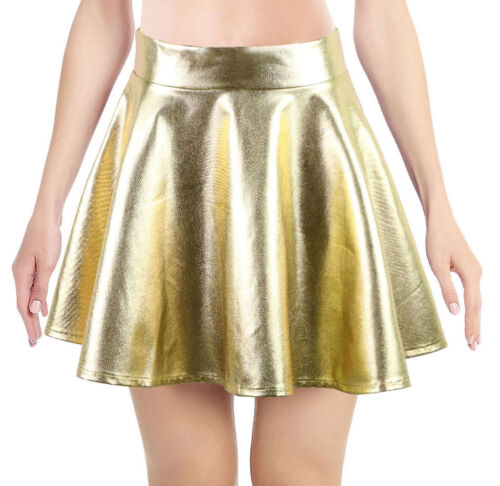 Holographic Hologram Womens Silver Metallic Mini Skater Skirt Dress