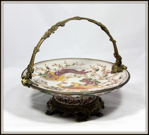 "Elegant  ""Hand Painted Porcelain & Bronze Compote with Handle""  (10"" H x 12"" W)"