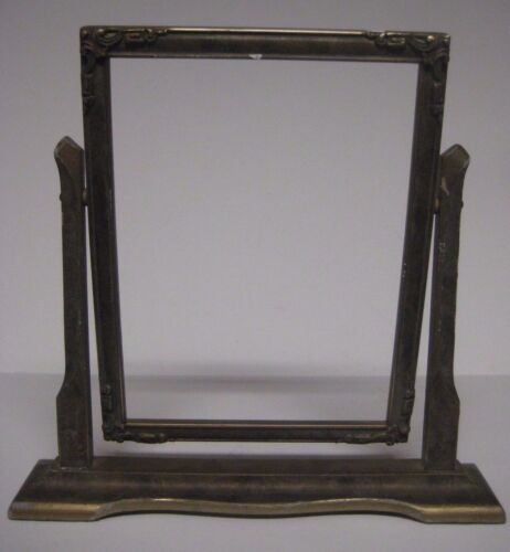 Antique Vtg Art Deco SWINGING PICTURE FRAME Wooden Tilt Easel Pie Crust Dough #1