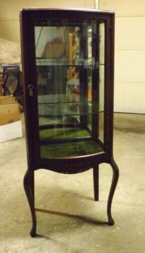 Antique 1900 to 1910 Dark Wood Colonial Curved Glass Cabinet with Key