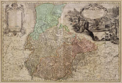 ANTIQUE EARLY MAP OF GERMANY, SELISIA , 1736, 18TH Century ( 1700s )