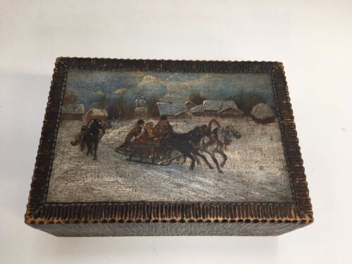 Antique Vintage Russian Carved Painted Folk Art Wood Box