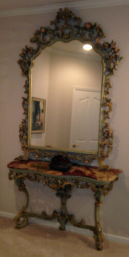 Entrance Painted Carved Wood Barbola Marble Table with Mirror
