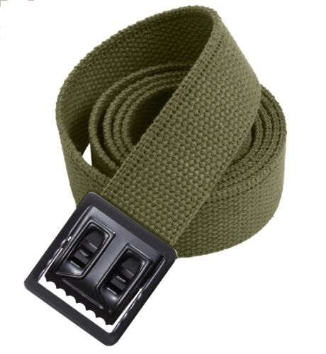 """NEW GREEN CANVAS WEB MILITARY ARMY BELT BLACK BUCKLE MARINE 54"""" w P38 SHELBY USAReproductions - 156470"""