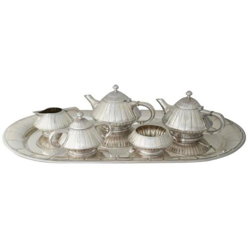 Museum Quality Art Deco Sterling Silver Tea and Coffee Set, circa 1928
