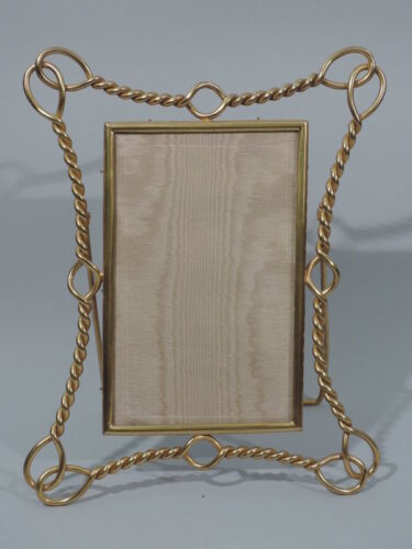 Antique Frame  Picture Photo  Nautical Equestrian Rope  English Brass