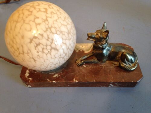 Antique Art Deco German Shepard Buodoir Desk TV Lamp Pink Brain Shade