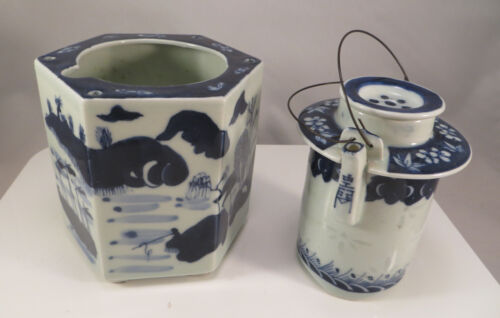 Antique Chinese Porcelain Teapot 3-Piece Blue & White Riceware China
