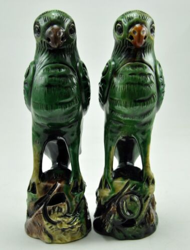 Vintage Chinese PARROTS Feng Shui Clay Statue LOVE Lucky Porcelain Bird Handmade