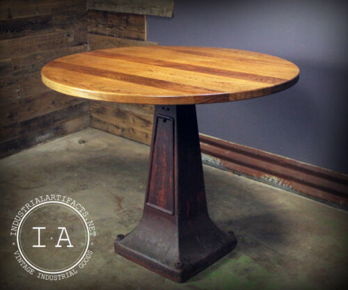 Vintage Industrial Large Cast Iron Machine Base Round Pub Dining Table