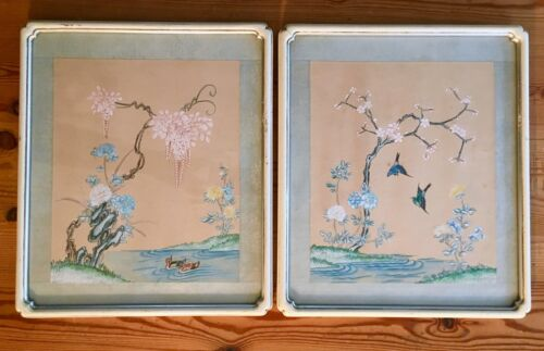 Pair OLD beautiful Chinese painting Lanscape Birds Flowers