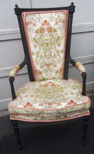 EXCEPTIONAL HOLLYWOOD REGENCY MANSFIELD CARVED VINTAGE TALL 1940S  ARM CHAIR