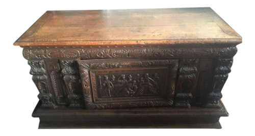 Handsome Antique Heavily Carved European Chest 16th - 17th Century