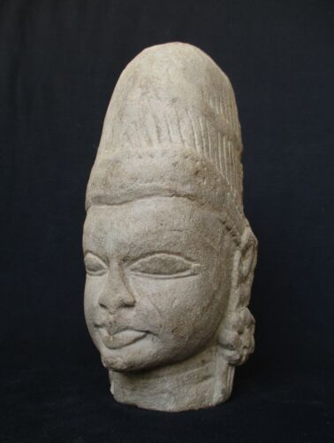 1700's  Cambodia Khmer Send Stone, Tample Statue Head of a Deity,  3.2kg weight