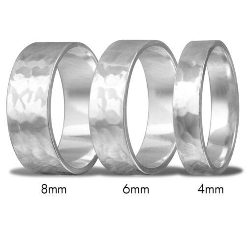 Men & Women Sterling Silver Hand Hammered FLAT Wedding Band Ring, 4mm, 6mm, 8mm