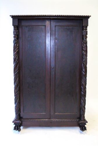 19TH C FEDERAL STYLE ANTIQUE MAHOGANY WARDROBE ~~ ACANTHUS COLUMNS ~~ LION FEET