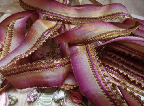 4yd RARE Antique FRENCH 20's Ombre Pink Mauve Gold Metallic Ruffled RIBBON Trim