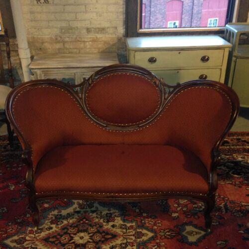 Antique 19th century walnut Victorian sofa love seat settee couch new upholstery