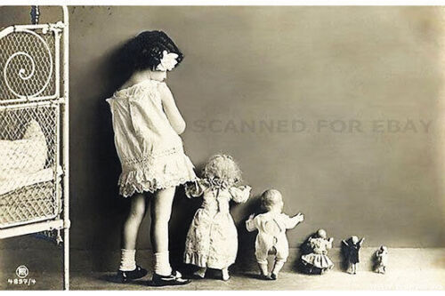 Girl Baby or Doll vintage OPTICAL ILLUSION kids children art print picture photo