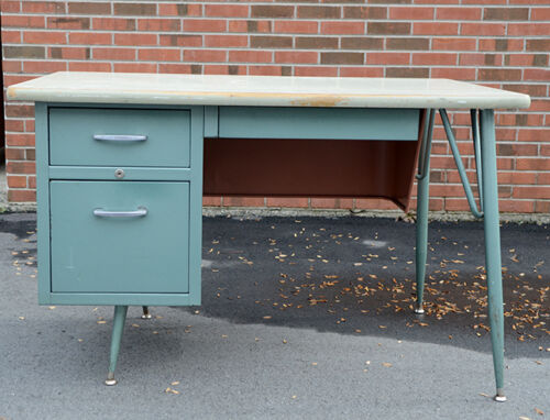Vintage Atomic Mid Century Metal Teacher Secretary Tanker Desk