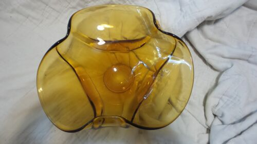 Vintage Large Viking Gold Art Glass Bowl Curved Edges