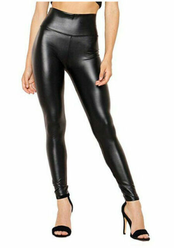 Womens Ladies High Waist Black Faux Leather Leggings Wet Look stretch Tight Pant <br/> Tight Ankle Fitting Size 6 8 10 12 14 16 18 20 22 24 26